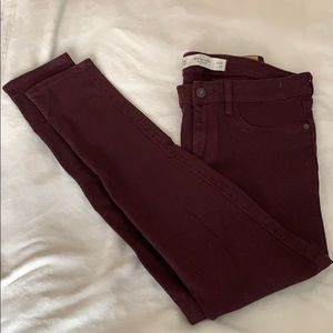 Abercrombie and Fitch Maroon Skinny Jeans